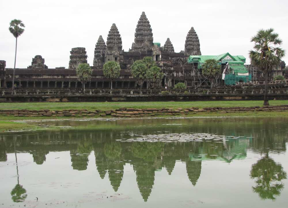 Angkor Wat complex with reflection in pond