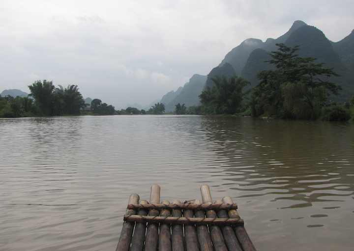 Bamboo Raft on river
