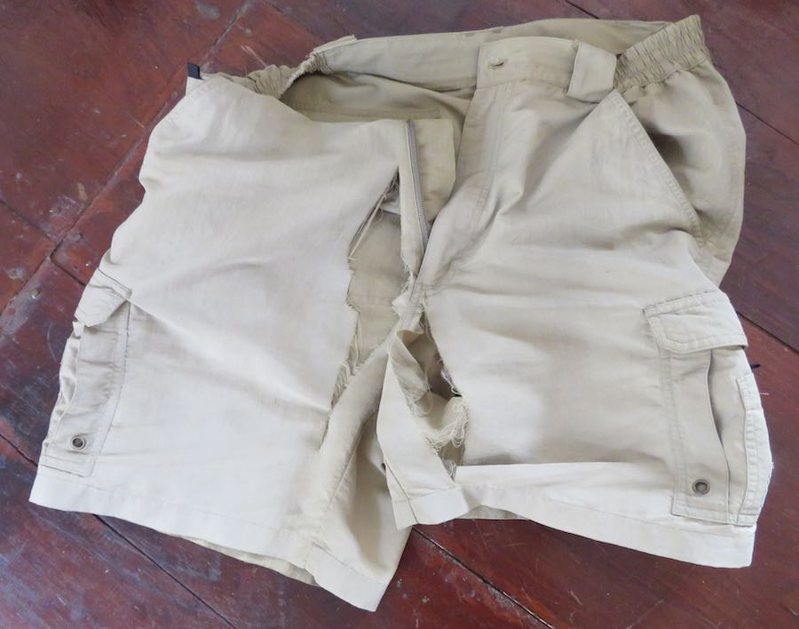 Photo of my shorts with massive tears