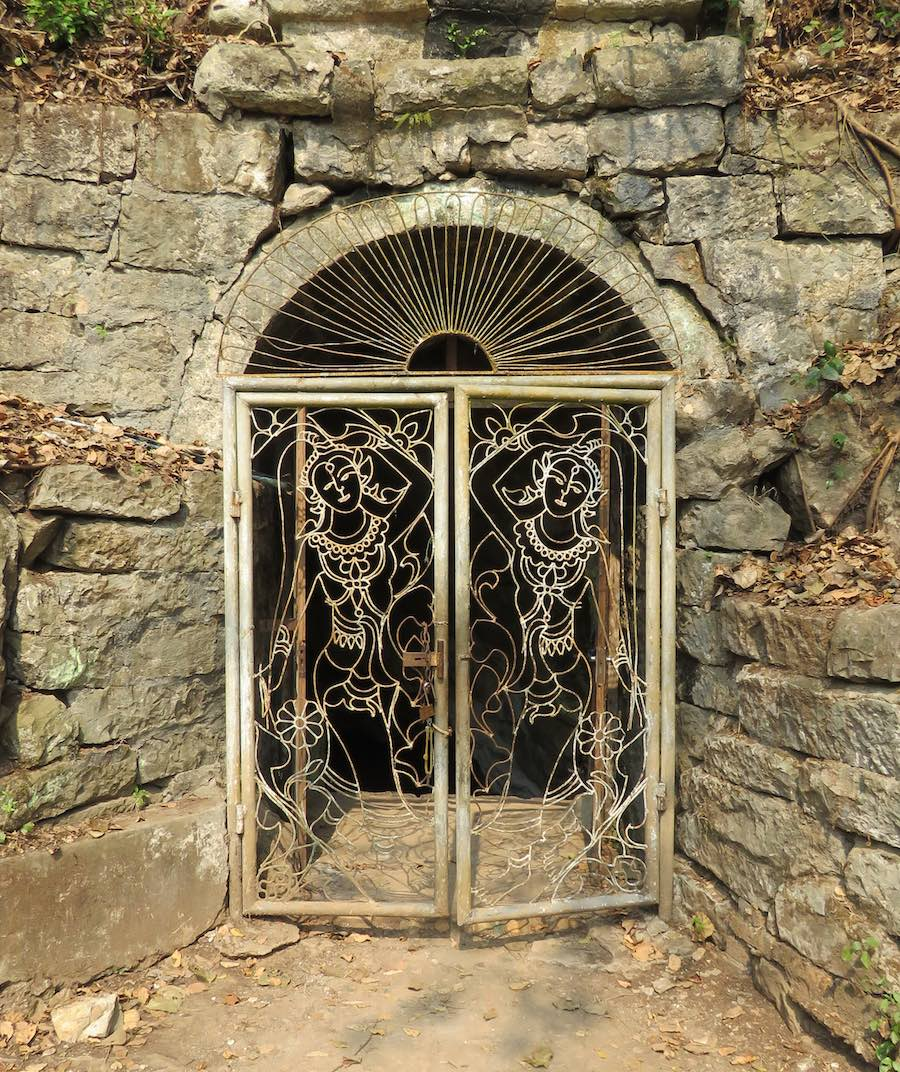 decorative iron gates, at cave on Chomphet hike