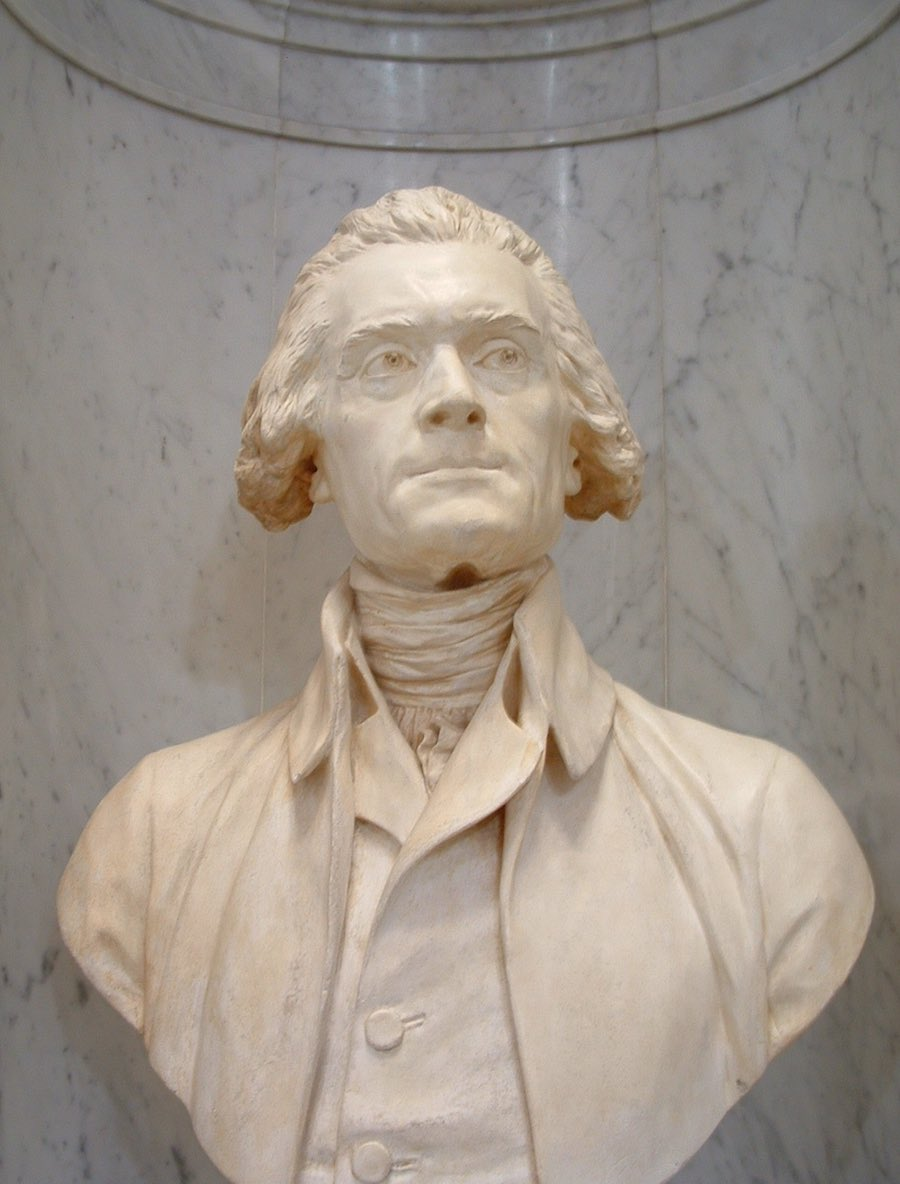Bust of Jefferson in white marble