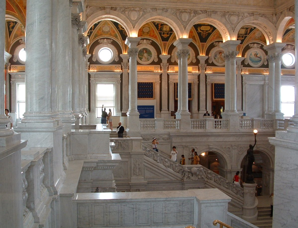 The incredibly ornate entry hall to the Library of Congress