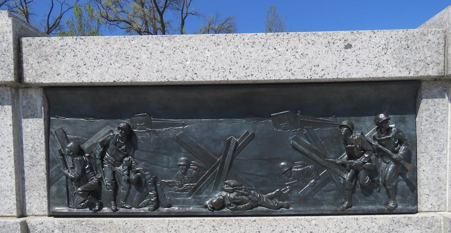 metal casting artwork illustrating D-day landing at the World War II Memorial