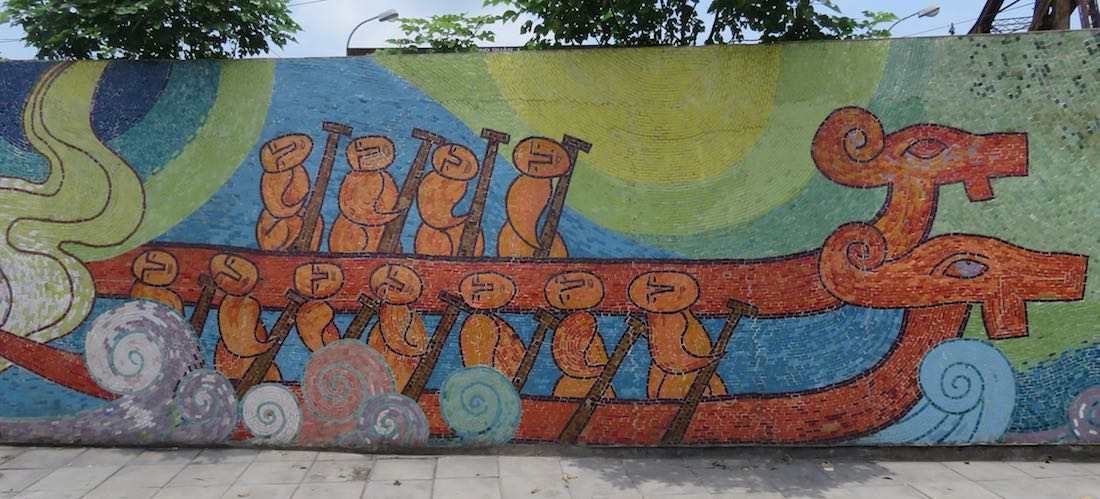 images of boats with oarsman along the Hanoi Mosaic Mural