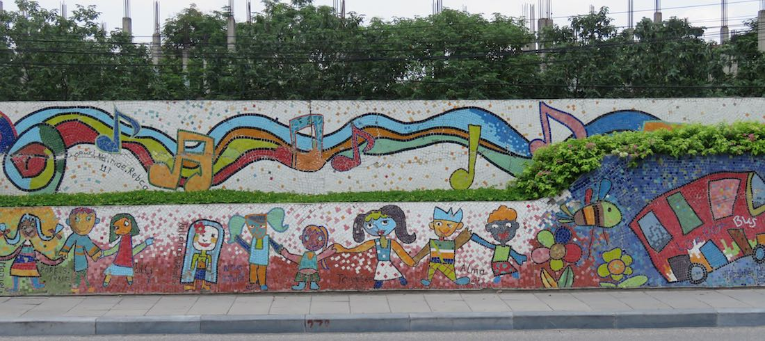 images of children and a bus, Hanoi Mosaic Mural