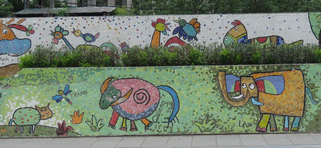 images of Elephant and other animals on the Hanoi Mosaic Mural