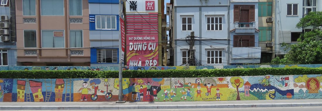 Football images on the Hanoi Mosaic Mural