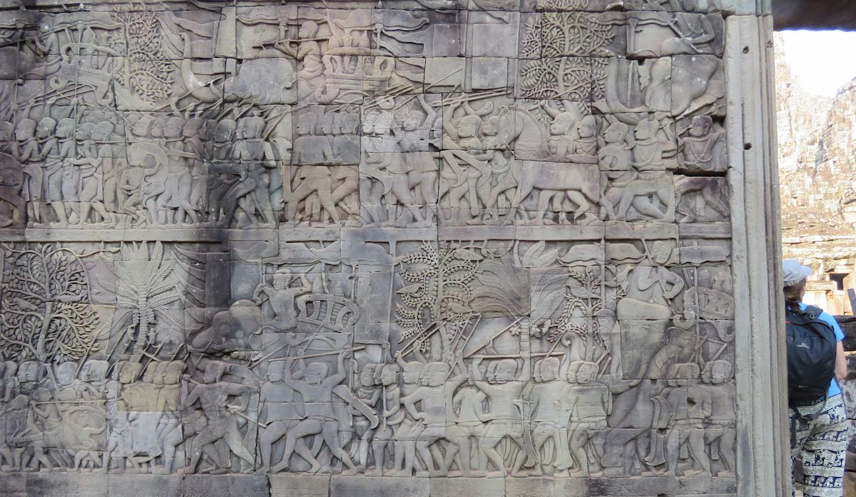 bas-relief art carved on the stone walls of Bayon Temple