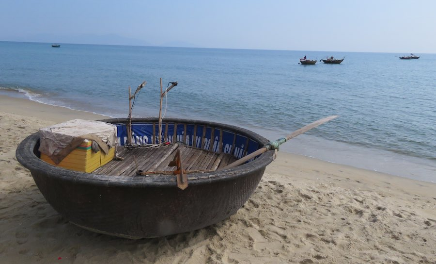round boat on the beach