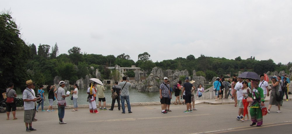 crowd of tourists at the Stone Forest, China